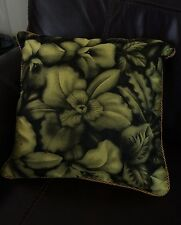 "NEW VERSACE HOME YELLOW & BLACK FLORAL 19X19""THROW PILLOW GORGEOUS! MADE N ITALY"
