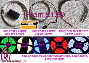 CABINET,SHELF & TV BACKLIGHT LED STRIP LIGHTS 5050 KITS WITH 9V PP3 BATTERY BOX