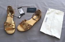 NEW DOLCE & GABBANA GIRLS GOLD LEATHER JEWELLED SHOES/ SANDALS 38 UK 5 US 6 $560