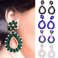 New Diamante Rhinestone Crystal Pear Shape Zara Style Earrings Ear Drop Boho UK