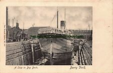 More details for a ship in dry dock barry dock chatton london cargo ship early postcard