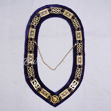 Metal Chain Collar Purple Velvet Regalia Masonic Grand Lodge