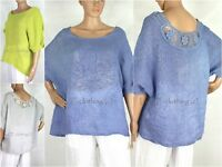 NEW Womens Italian Vintage Crochet Back Linen Lagenlook Oversize Style Top
