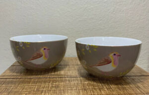 Pip Studio Porcelain Bowl Floral Early Bird Khaki. Set Of 2 Excellent Condition.