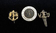 Vintage U.S. Naval Reserve Honorable Discharge Lapel Pin PLUS 2 More USN Pins