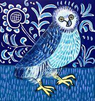 Original Painting Medieval Owl,illumination,Folk/naive Art On Board