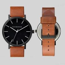 THE HORSE Fashion Brand Women Men'Casual Leather Strap Quartz Wrist Watch Brown