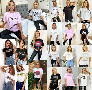 Women's Short Sleeve Slogan Printed T-shirts Summer Ladies Tee Tops New UK