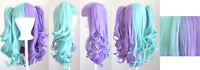 20'' Lolita Wig + 2 Pig Tails Set Half Purple, Mint Green Split Gothic Sweet