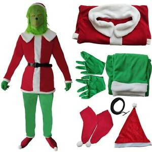 Unisex Costume The Grinch Christmas Santa Xmas Fancy Dress Cosplay Outfit Set