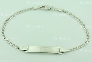 14k white gold kids baby Gucci link ID bracelet  LOBSTER clasp 2.60 grams #6534