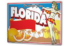 Tin Sign XXL City Florida greetings Palms girl metal plate plaque