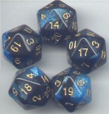 NEW RPG Dice Set of 5 D20 - Twisted Black-Blue