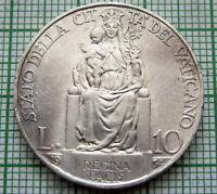 VATICAN PIVS PIUS XI 1934 10 LIRE, MADONNA WITH CHILD, SILVER