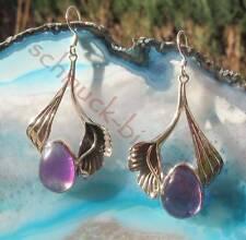 Boucles d'oreilles Fleurs De Lys avec Améthyste, violet Argent Sterling 925