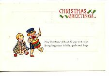 Children w/ Music Instruments-Drum-Horn-Christmas Holiday Greeting Postcard