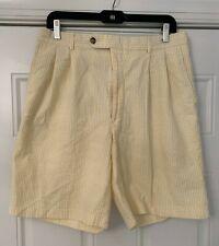 BERLE Yellow seersucker Bermuda shorts 33R