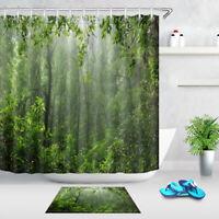 A misty Rain Forest Scenery Shower Curtain Liner Waterproof Fabric & 12 Hooks