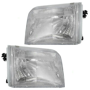 Pair Set Headlights Headlamps with Housing for 93-97 Ford Ranger Pickup Truck