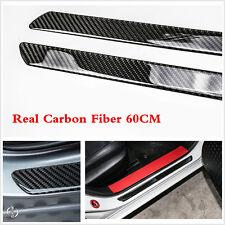 2Pcs 60cm Carbon Fiber Car Scuff Plate Door Sill Cover Panel Step Protector Trim