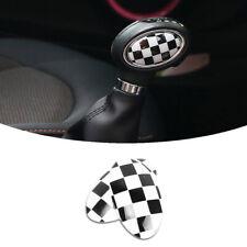 Black White Checkered Shift Knob ABS Trim Sticker For 14-up MINI Cooper F55 F56