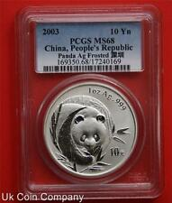 2003 China Panda Frosted 1oz Silver 10 Yuan Coin-slabbed Grade Pcgs Ms68