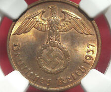 NGC MS-65 RB  NAZI SWASTIKA 1937-A  2 ReichPfennig COIN-Germany 3rd-REICH MINT!!
