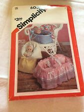Simplicity 6056 vintage baby doll bassinet/carrier  sewing pattern uncut