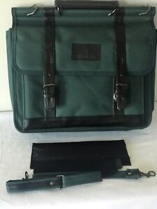LONDON FOG Green Fabric Black Leather Shoulder Strap/Cushion Laptop Bag New