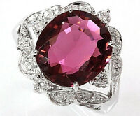 4.8 ct tw Natural Pink Tourmaline & Diamond Solid 14k White Gold Cocktail Ring
