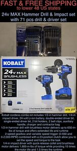 FREE SHIP New Kobalt 24-V 4.0-Ah Li-Ion Brushless Hammer Drill Impact w/71pc set