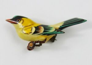 Takahashi bird brooch wire leg & push pin fastened clasp hand carved wood #3