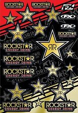 "Factory Effex Rockstar Gold Reflective Sticker Sheet 14"" x 20"" Honda MX Enduro"