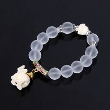 Milky Crystal Quartz Healing Power Bead Women Boho Elephant Matte Clear Bracelet