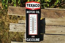Texaco Motor Oil and Gasoline Thermometer Embossed Tin Metal Sign - Gas Pump