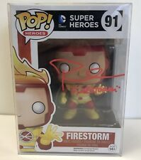 Autographed FIRESTORM DC Heroes Flash Funko POP #91 Signed By Robbie Amell
