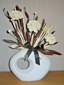 Blumengestecke,Kunstblumen,beige/braun,Keramikvase,Geschenk,45x25cm,Neu