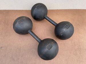 YORK 50 Pound Globe Dumbbells - Vintage Round Head - Rare - Very good condition!