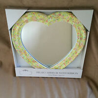 Hand Made Bespoke Spring Floral Decoupage Heart Shape Mirror. Gift.