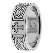 10K Solid White Gold Celtic Cross Wedding Ring 8mm Wide Mens Wedding Band