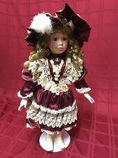 """Tuss Collectible William Tung 24"""" Porcelain Doll Rich Red Dress Lace Flowers Hat"""