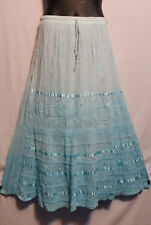 Women Eastic Waist Skirt 100% Cotton Embroidered sequins Free Size Blue