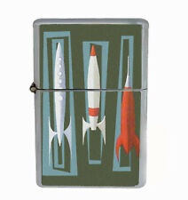 Retro Rocket Ships Rs1 Flip Top Oil Lighter Wind Resistant With Case