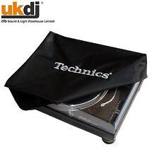 Tocadiscos cubierta Technics Logo Deck el logotipo en negro y Bordado Plata cubierta de polvo