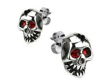 Boucles oreilles bikers acier 316L Crane et zirconias rouges skull earrings