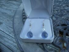 New Nwot Huge dangling 58+ carat Genuine Blue topaz 14k gold & Silver earrings