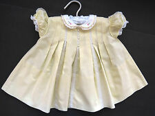 Baby Girls Dress Yellow Embroidered Roses Lace Inserts CASTRO CO 3 to 6 Months