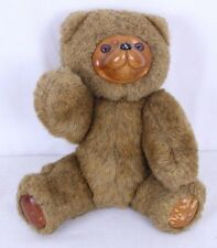 "Robert Raikes Jointed Teddy Bear Wood Face 9"" Jamie #5453 Applause 1985 Distress"