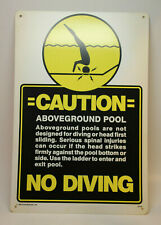 1986 Vintage Safety Swimming Pool Sign ABOVEGROUND POOL CAUTION - Plastic Above