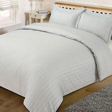 Dreamscene Satin Stripe Duvet Cover Pillow Cases Silver Quilt Bedding Set Double